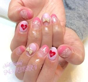 ピンク☆ハートNail