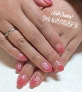 ピンク×お花☆オフィスネイル♪